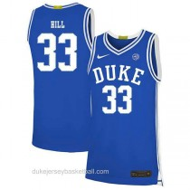 Womens Grant Hill Duke Blue Devils #33 Authentic Blue Colleage Basketball Jersey