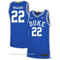 Womens Jay Williams Duke Blue Devils #22 Authentic Blue Colleage Basketball Jersey