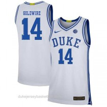 Womens Jordan Goldwire Duke Blue Devils #14 Authentic White Colleage Basketball Jersey