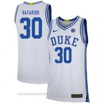 Womens Michael Savarino Duke Blue Devils #30 Authentic White Colleage Basketball Jersey
