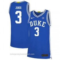 Womens Tre Jones Duke Blue Devils #3 Authentic Blue Colleage Basketball Jersey