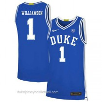 Womens Zion Williamson Duke Blue Devils #1 Authentic Blue Colleage Basketball Jersey
