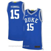 Youth Alex Oconnell Duke Blue Devils #15 Authentic Blue Colleage Basketball Jersey