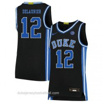 Youth Javin Delaurier Duke Blue Devils #12 Authentic Black Colleage Basketball Jersey