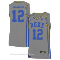 Youth Javin Delaurier Duke Blue Devils #12 Authentic Grey Colleage Basketball Jersey