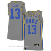 Youth Joey Baker Duke Blue Devils #13 Authentic Grey Colleage Basketball Jersey