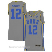 Youth Justise Winslow Duke Blue Devils #12 Authentic Grey Colleage Basketball Jersey