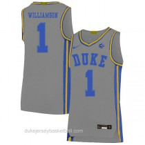 Youth Zion Williamson Duke Blue Devils #1 Authentic Grey Colleage Basketball Jersey