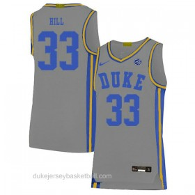 Mens Grant Hill Duke Blue Devils #33 Limited Grey Colleage Basketball Jersey