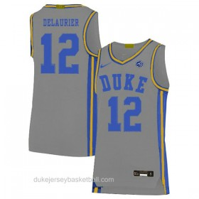 Mens Javin Delaurier Duke Blue Devils #12 Limited Grey Colleage Basketball Jersey
