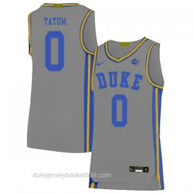 Mens Jayson Tatum Duke Blue Devils 0 Swingman Grey Colleage Basketball Jersey