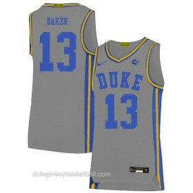 Mens Joey Baker Duke Blue Devils #13 Limited Grey Colleage Basketball Jersey