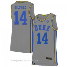 Mens Jordan Goldwire Duke Blue Devils #14 Swingman Grey Colleage Basketball Jersey