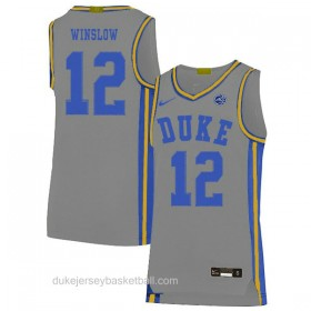 Mens Justise Winslow Duke Blue Devils #12 Limited Grey Colleage Basketball Jersey