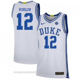 Mens Justise Winslow Duke Blue Devils #12 Limited White Colleage Basketball Jersey