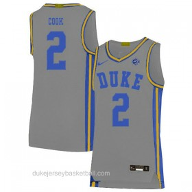Mens Quinn Cook Duke Blue Devils #2 Limited Grey Colleage Basketball Jersey
