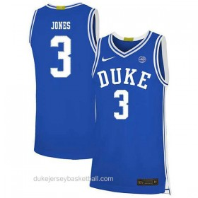 Mens Tre Jones Duke Blue Devils #3 Swingman Blue Colleage Basketball Jersey