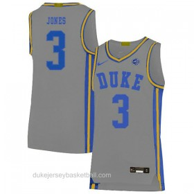 Mens Tre Jones Duke Blue Devils #3 Swingman Grey Colleage Basketball Jersey