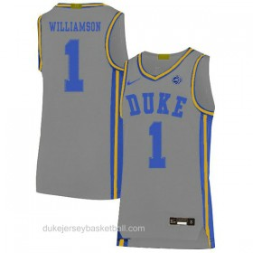 Mens Zion Williamson Duke Blue Devils #1 Limited Grey Colleage Basketball Jersey