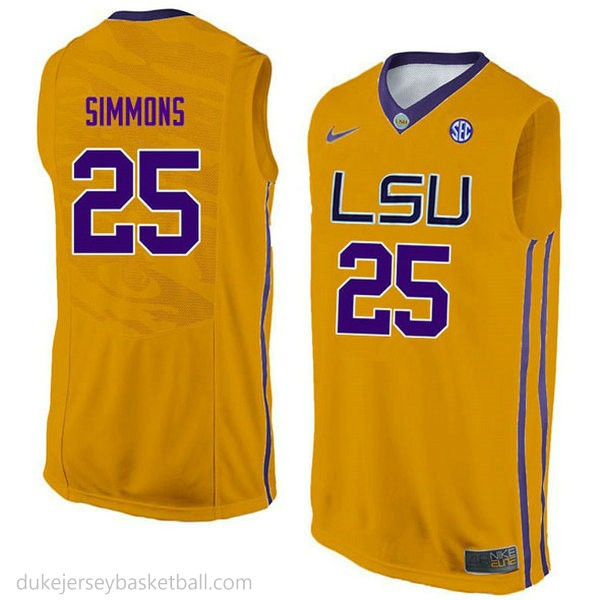 Ben Simmons Lsu Tigers #25 Authentic College Basketball Youth Gold Jersey