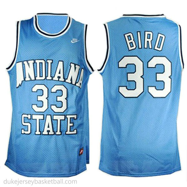 Larry Bird Indiana State Sycamores #33 Authentic College Basketball Womens Blue Jersey
