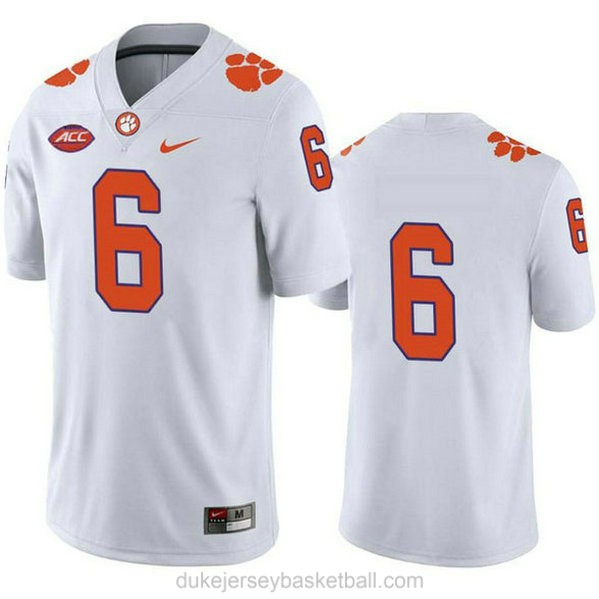 Mens Deandre Hopkins Clemson Tigers #6 Limited White College Football C012 Jersey No Name