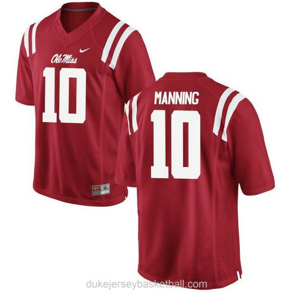 Mens Eli Manning Ole Miss Rebels #10 Game Red College Football C012 Jersey