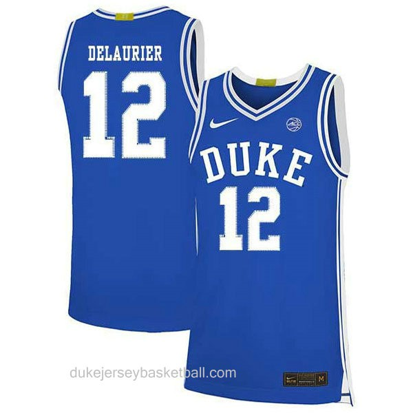 Mens Javin Delaurier Duke Blue Devils #12 Authentic Blue Colleage Basketball Jersey