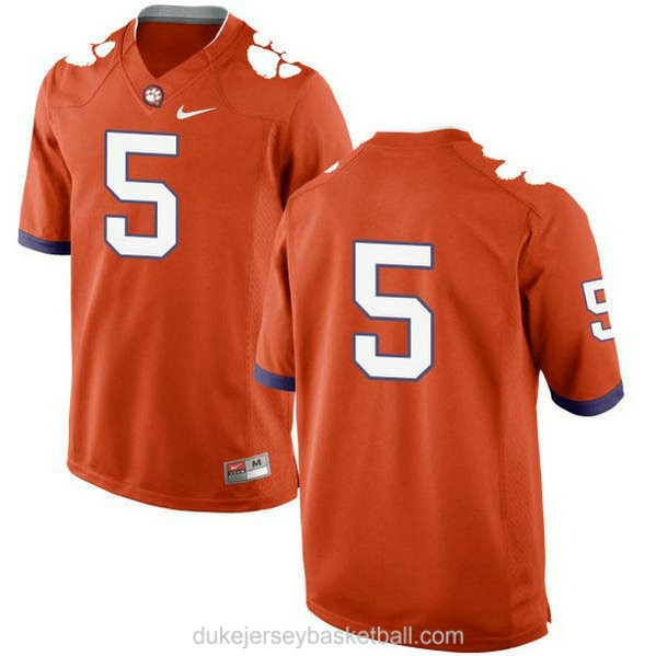 Mens Tee Higgins Clemson Tigers #5 New Style Limited Orange College Football C012 Jersey No Name