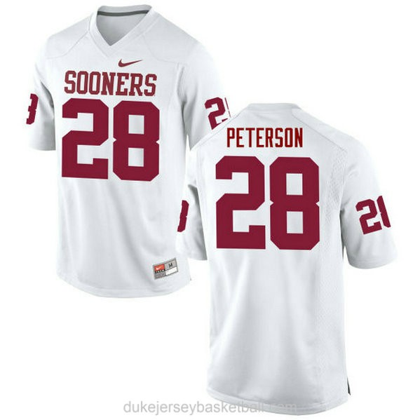 Womens Adrian Peterson Oklahoma Sooners #28 Authentic White College Football C012 Jersey