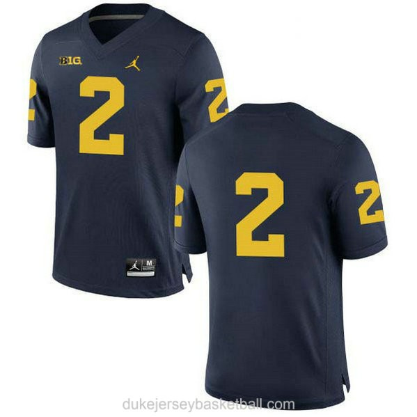 Womens Charles Woodson Michigan Wolverines #2 Game Navy College Football C012 Jersey No Name