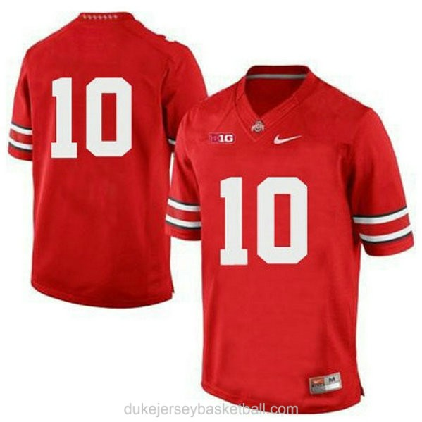 Womens Troy Smith Ohio State Buckeyes #10 Game Red College Football C012 Jersey No Name